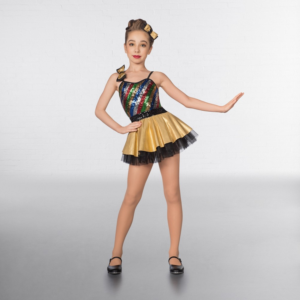 92eba6532a8b 1st Position Multi Stripe Bow Glitz Dress - IDS: International Dance ...