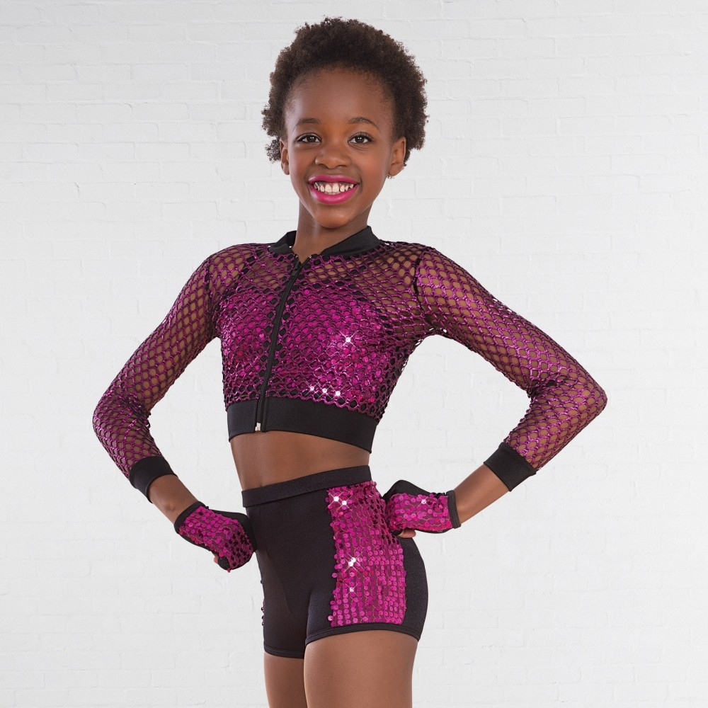1b9d611bebbe7b 1st Position Glitter Mesh Jacket with Sequin Crop Top and Shorts ...