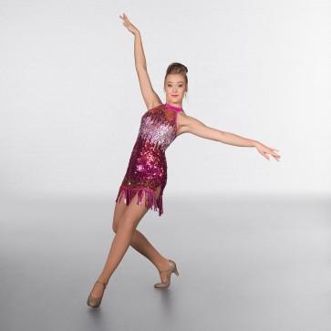 1st Position Ombré Sequin Fringe Glitz Mini Dress