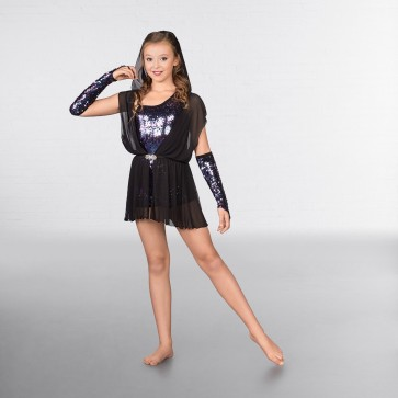 1st Position Iridescent Sequin Unitard with Mesh Hooded Overlay