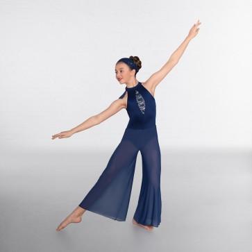 1st Position Sequin Lace Insert Culottes Jumpsuit