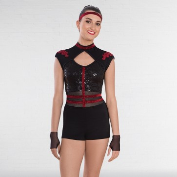 1st Position Cap Sleeved Sequin Unitard with Cutaway Panels