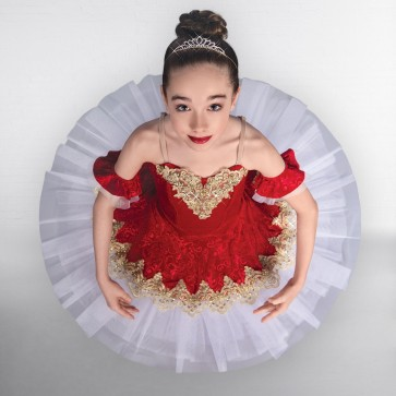 1st Position Prestige Ruby Red Gold Trimmed Ballet Bodice with Matching Skirt Overlay