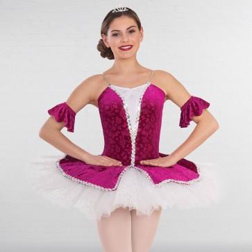 1st Position Embossed Velour Tutu with Glitter Net Top Skirt