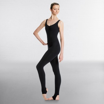 Lulli Brushed Cotton Pinched V-Neck Long Dance Unitard Zoe