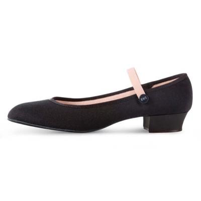 Bloch Accent Low Heel Canvas Character Shoe Black
