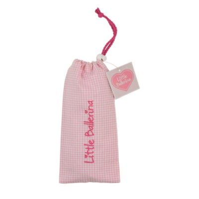 Little Ballerina Small Gingham Shoe Bag Pink