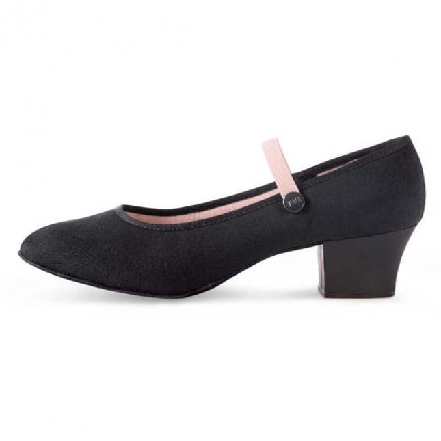 Bloch Tempo Cuban Heel Canvas Character Shoe Black