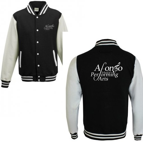 Unisex Varsity Jacket (Black/White) with Afonso School of Performing Arts Logo