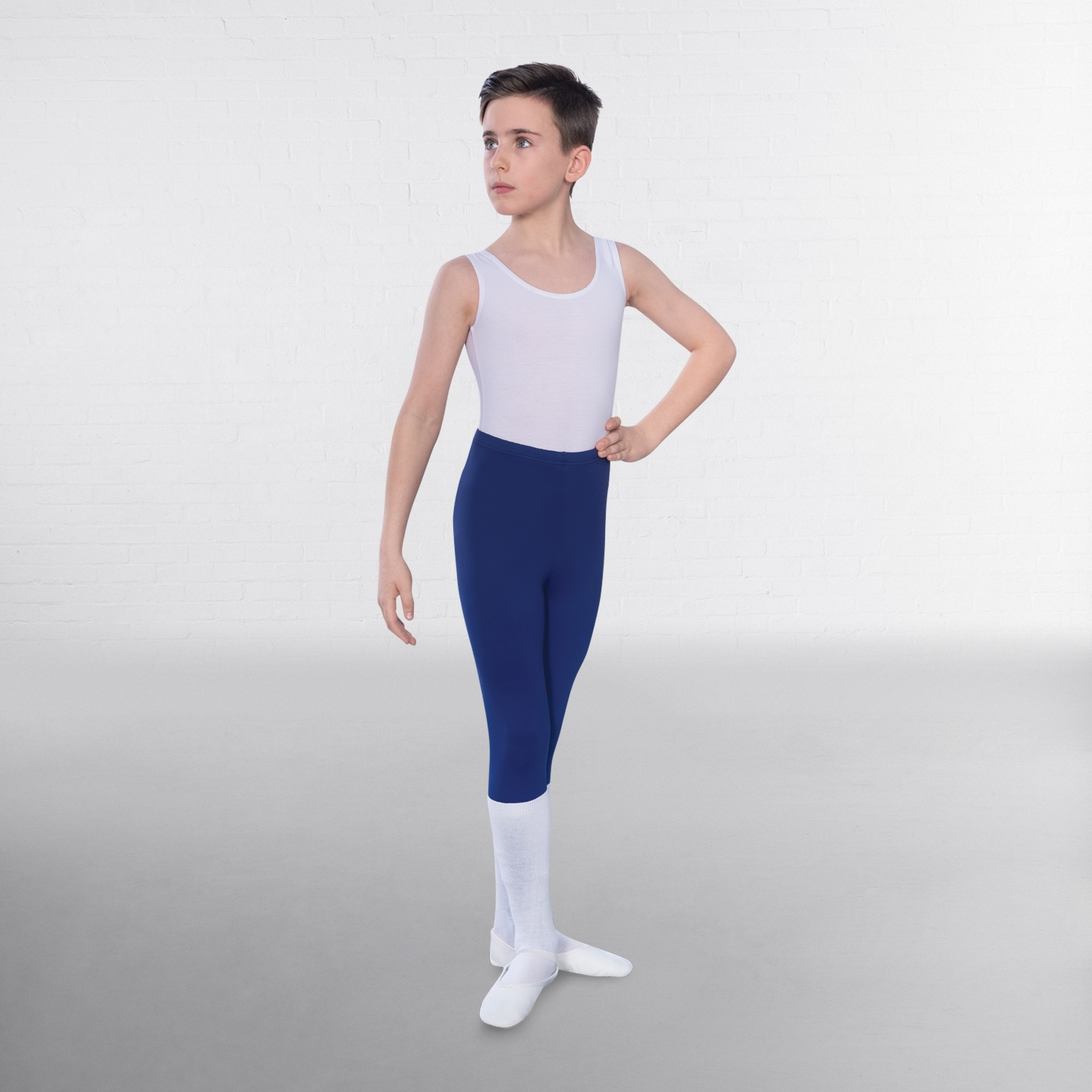 1st Position Male Sleeveless Scoop Neck Leotard (White)