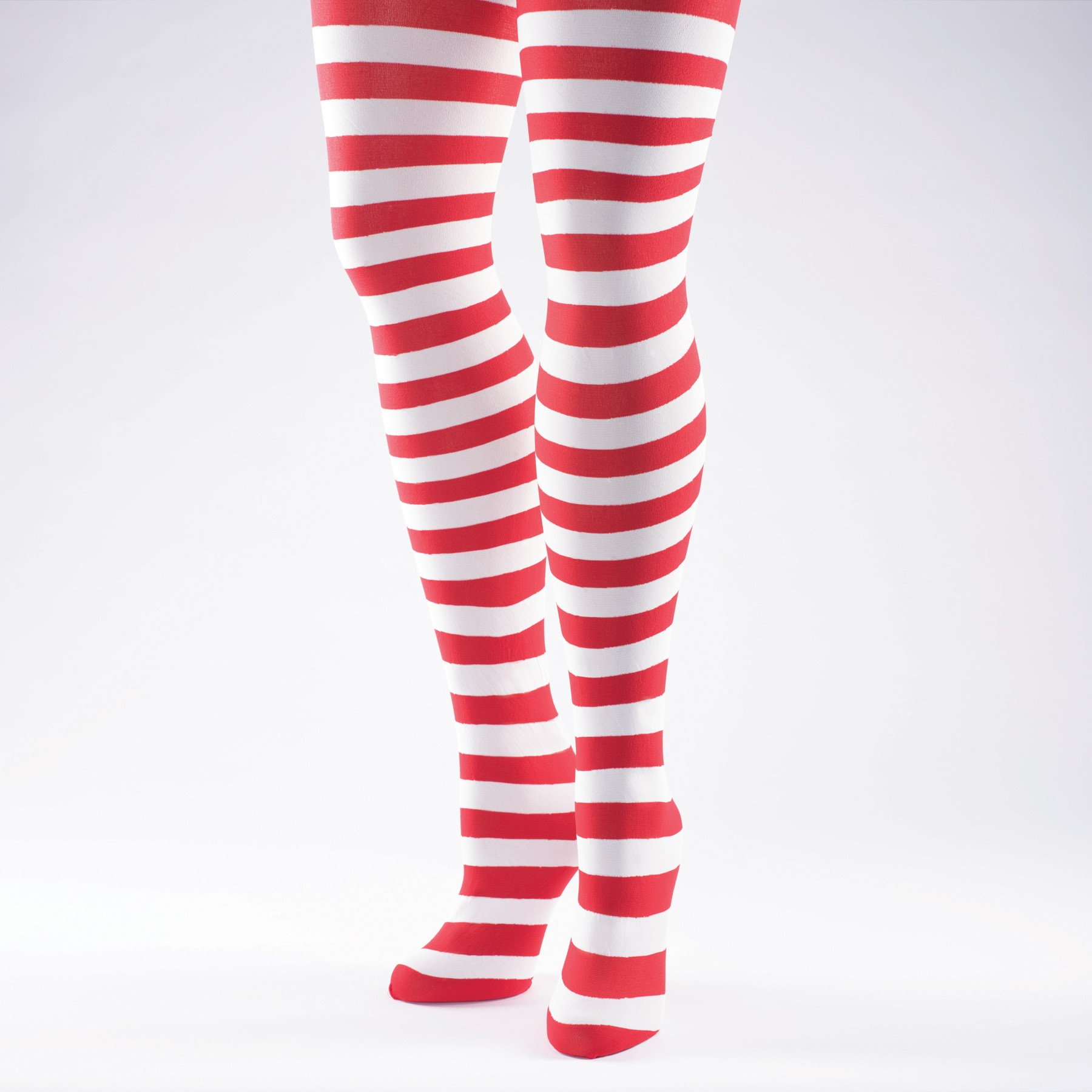 Striped Tights (White/Red)