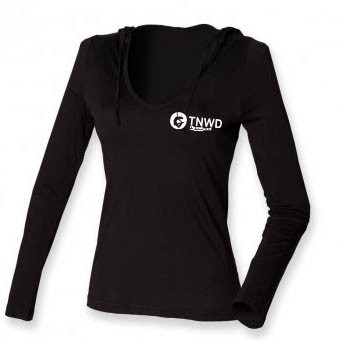 Long Sleeved Fineweight Hooded T-Shirt (Black) with TNWD Performing Arts Logo