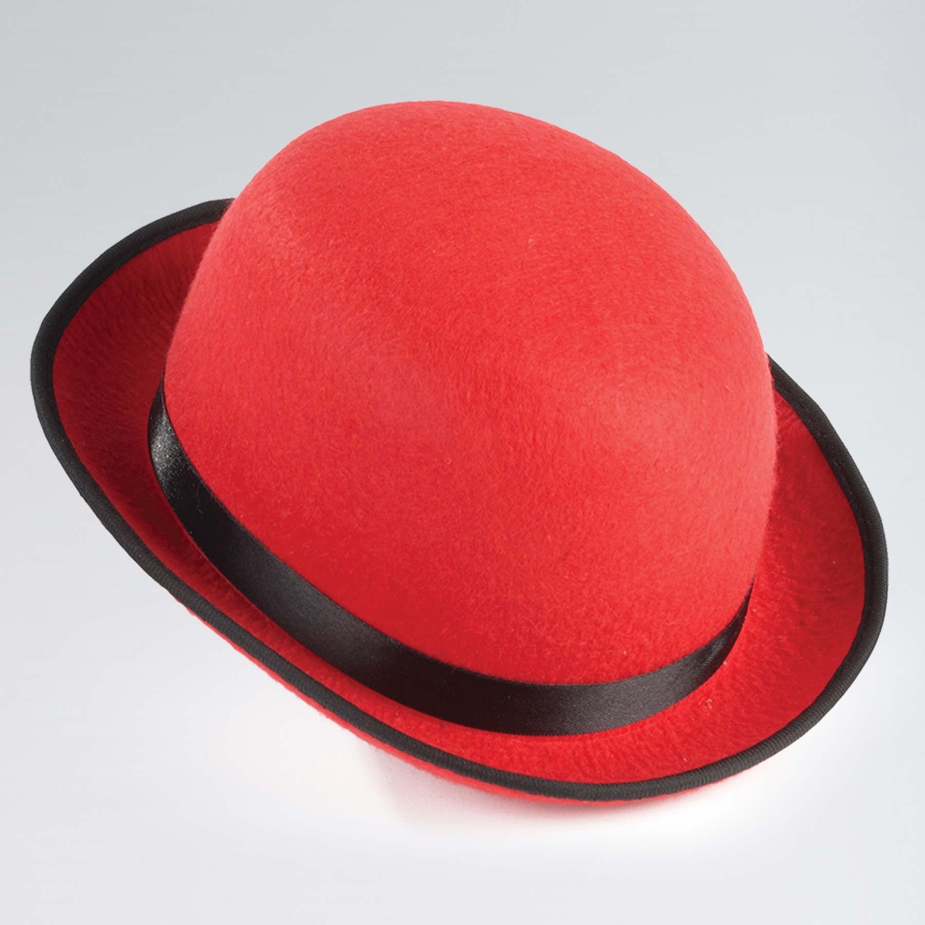 Felt Bowler Hat Red with Black Trim