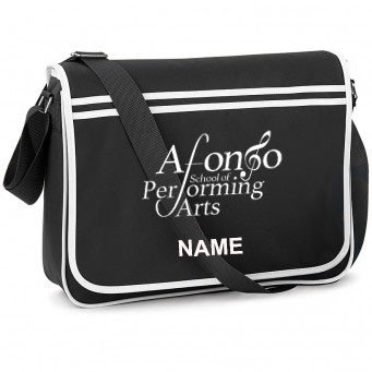 PP*#336#* BagBase Retro Messenger Black/White Personalised with Individual Names and Afonso School of Performing arts Logo