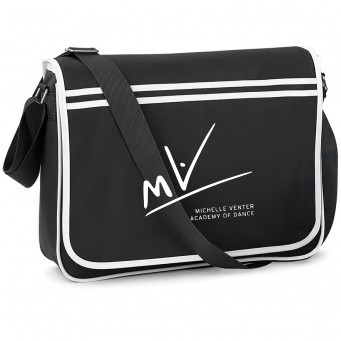 PP*#170#* BagBase Retro Messenger Black/White with Michelle Venter Academy of Dance Logo
