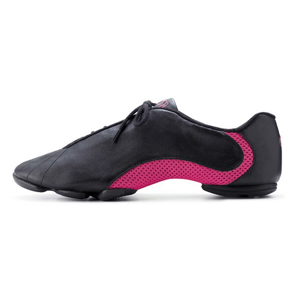 Bloch Amalgam Leather Jazz Sneakers (Black/Hot Pink)