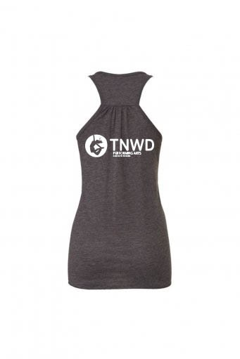 Bella Flowy Racer Back Tank Top (Dark Grey) with TNWD Performing Arts Logo