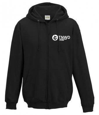 Ladies Fitted Zipped Hoodie (Black) with TNWD Performing Arts Logo