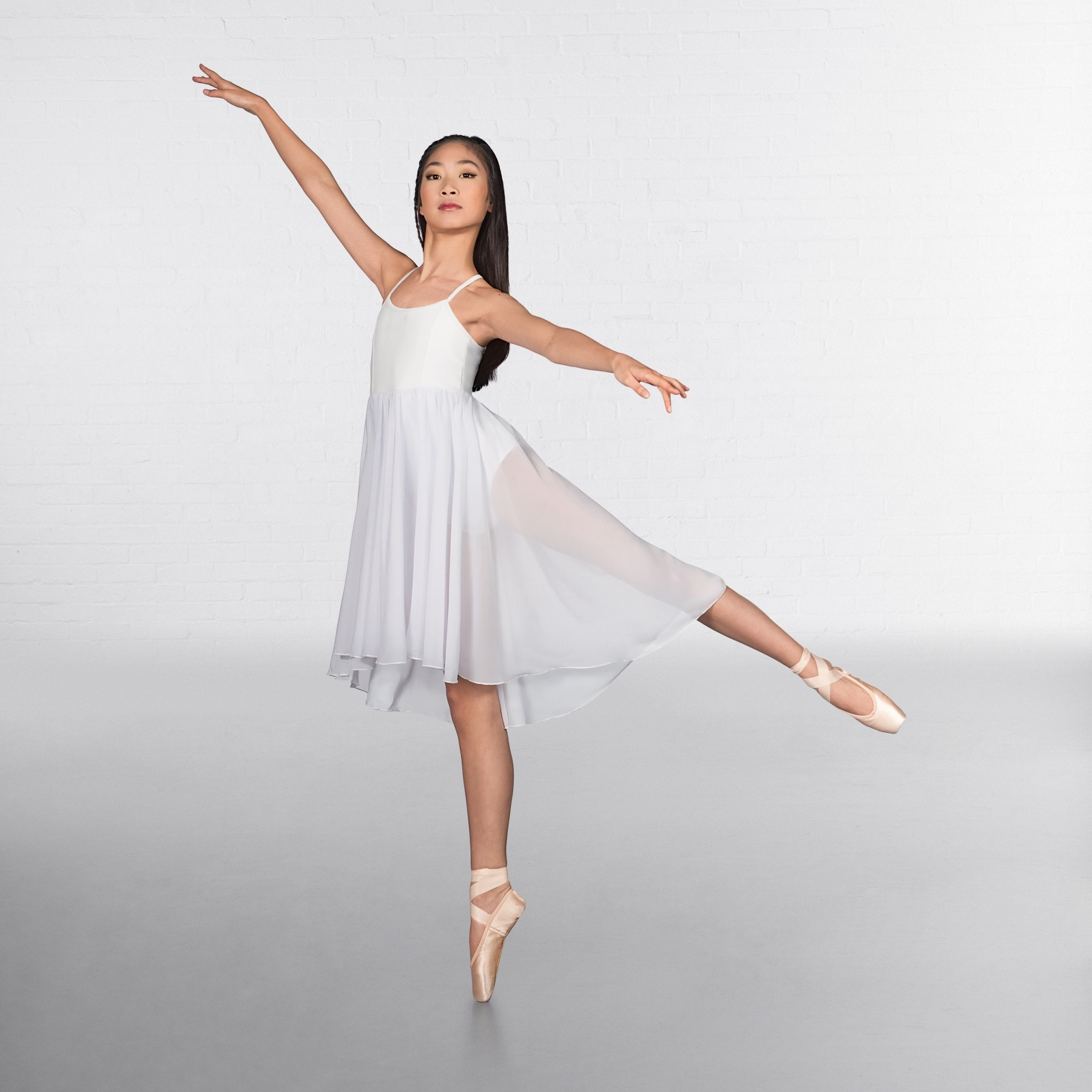 1st Position Camisole Skirted Leotard White Small Adult