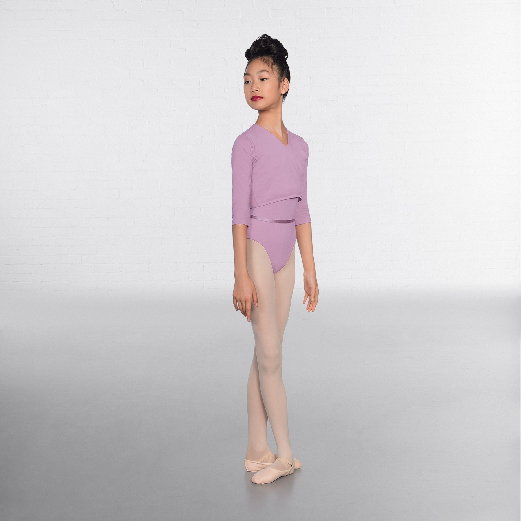 1st Position Cotton/Poly X Over Cardigan 3/4 length sleeves (Lilac)