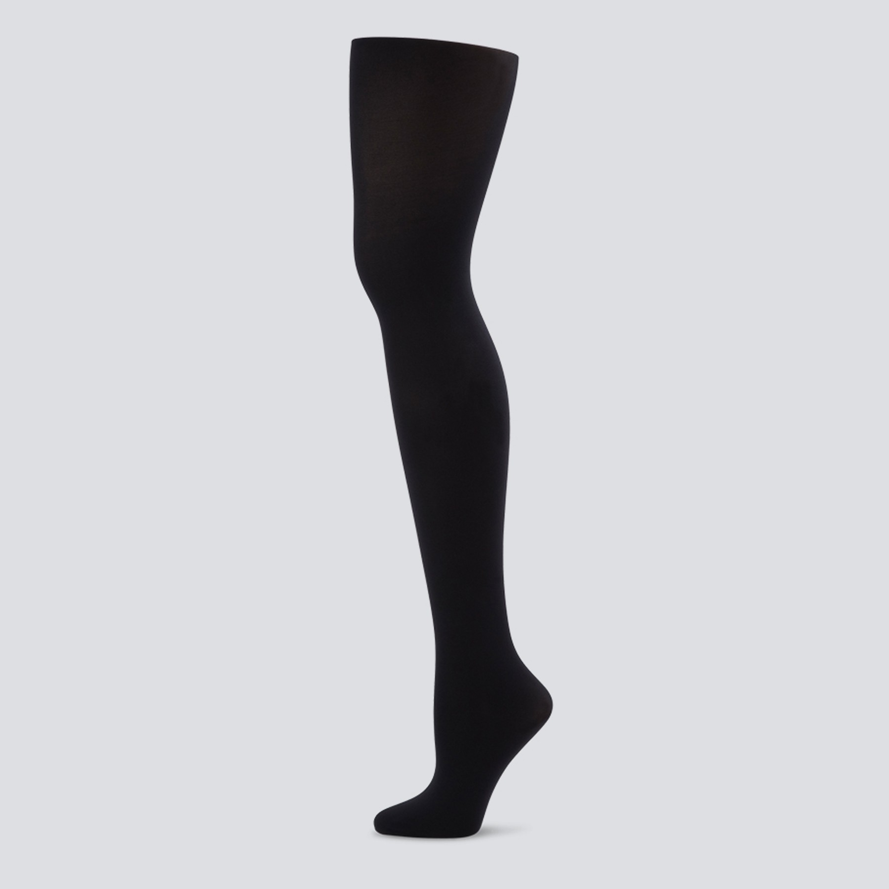 Capezio Ultra Soft Self Knit Waistband Footed Tight (Black)