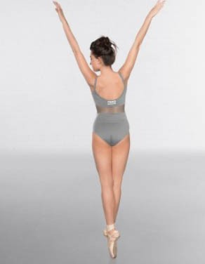 1st Position Mesh insert Cami Strap Fashion Leotard Grey with TNWD Logo