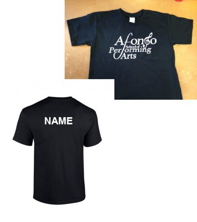 Adult T-shirt in Black printed with the Afonso School of Performing Arts Logo and NAME