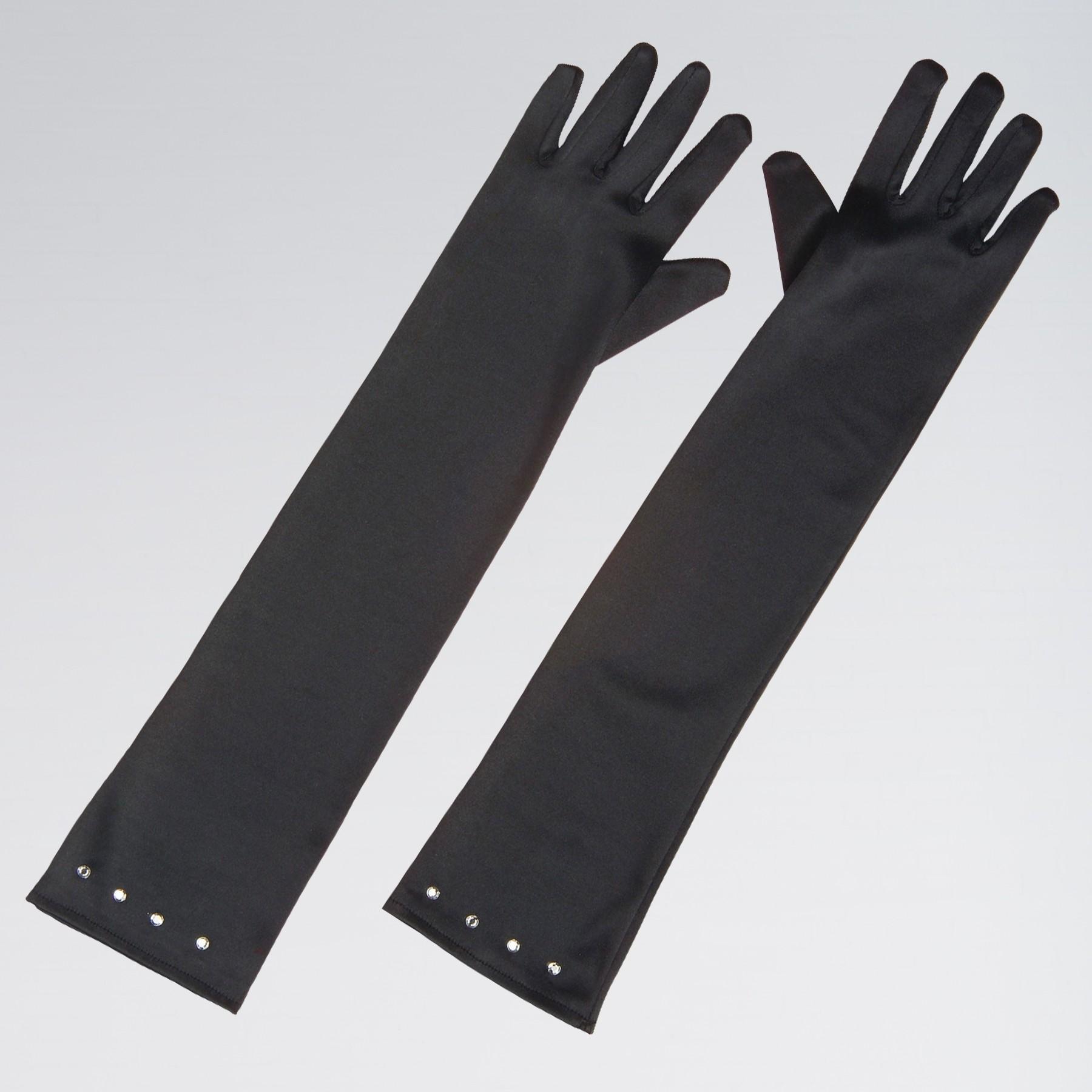 Child Size Satin Gloves with Gem Trim Black