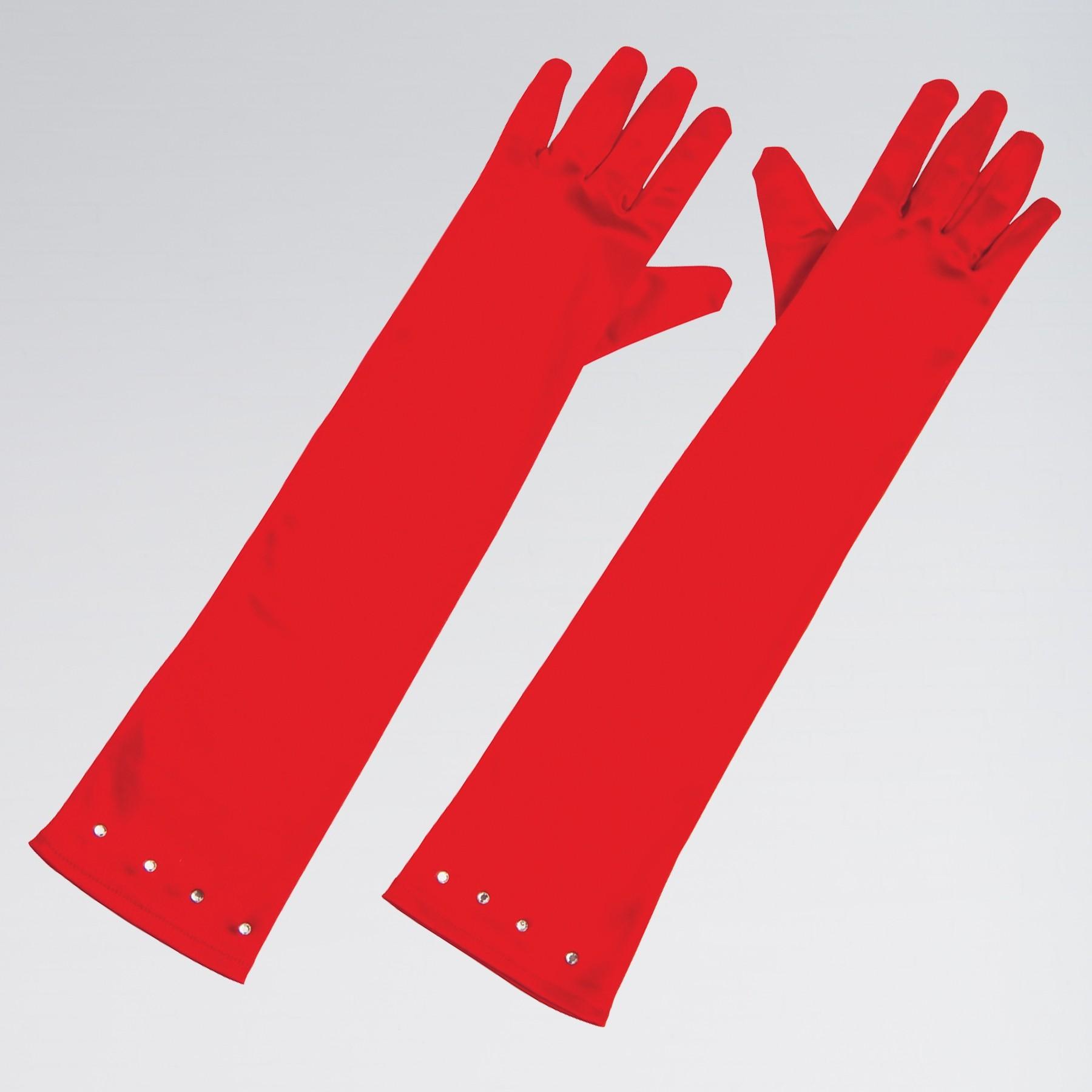 Child Size Satin Gloves with Gem Trim Red