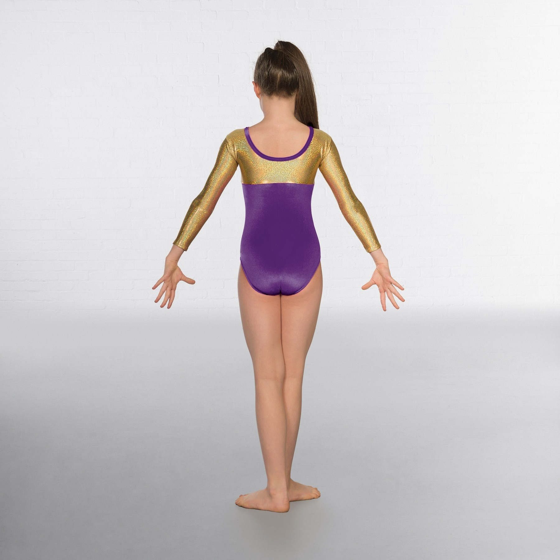 1st Position Alexa Velour Hologram Long sleeved Leotard (Purple / Gold)
