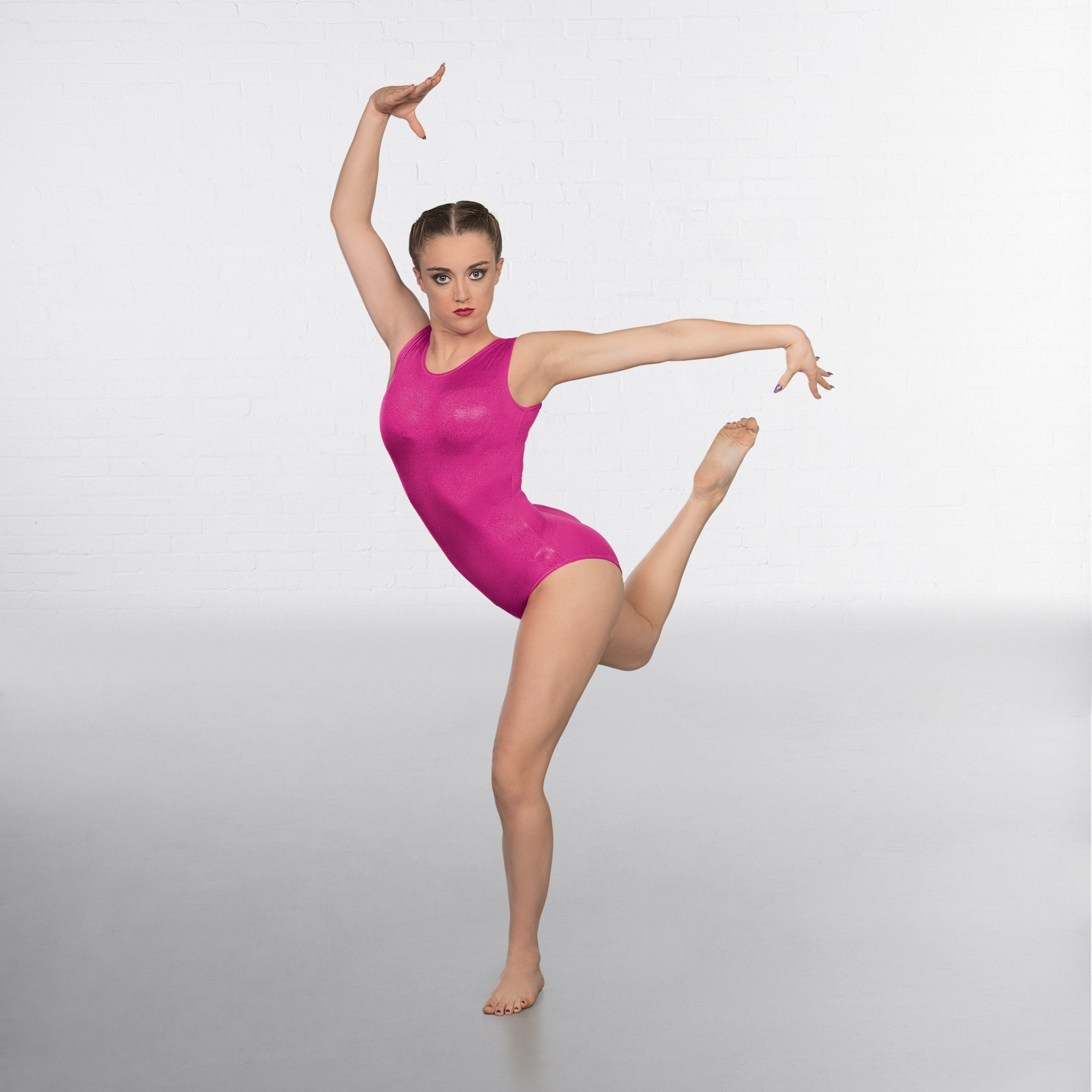 1st Position Kourtney Hologram Shine Sleeveless Leotard (Cerise)