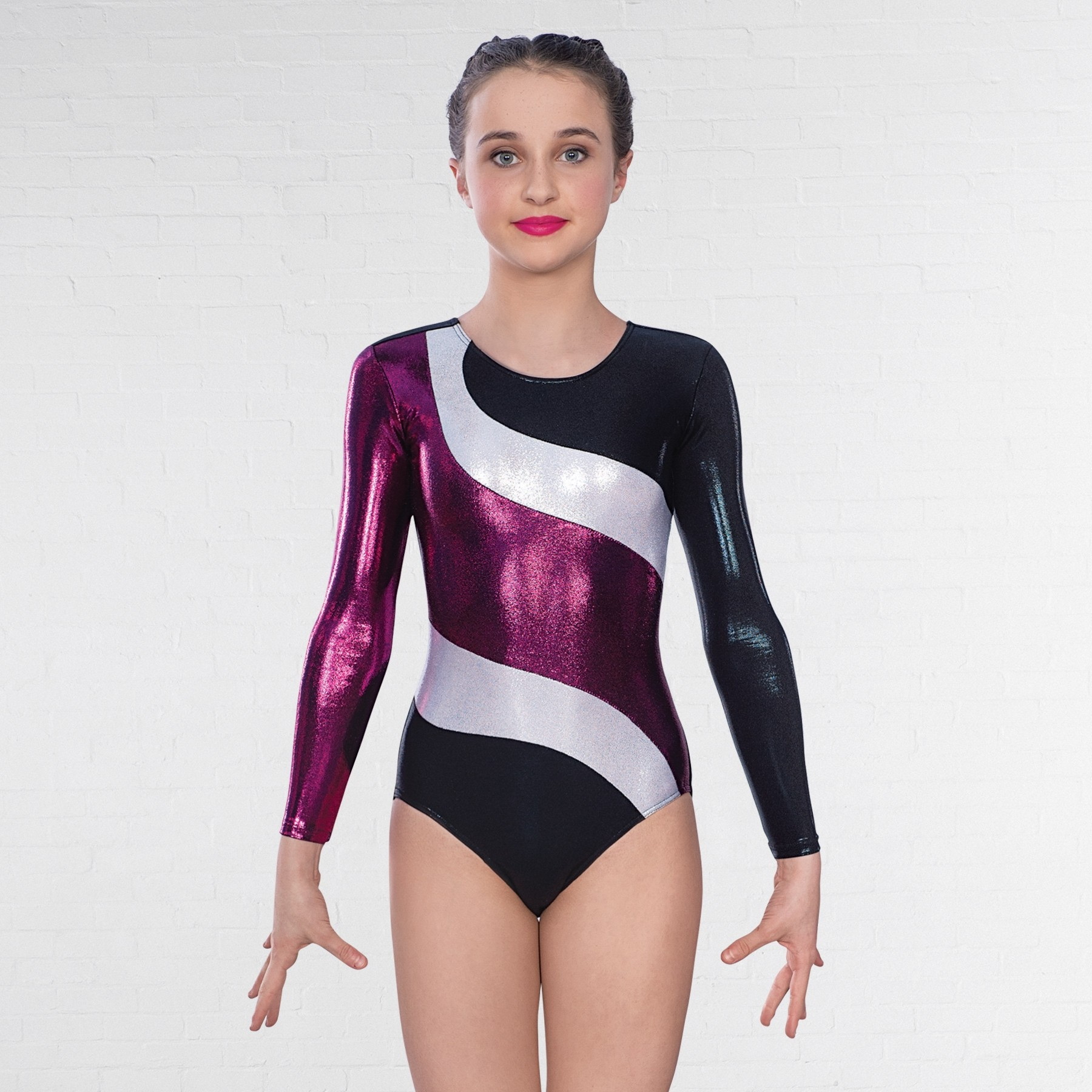 1st Position Jadyn Long Sleeved Leotard (Cherry Black)  11d278ad4