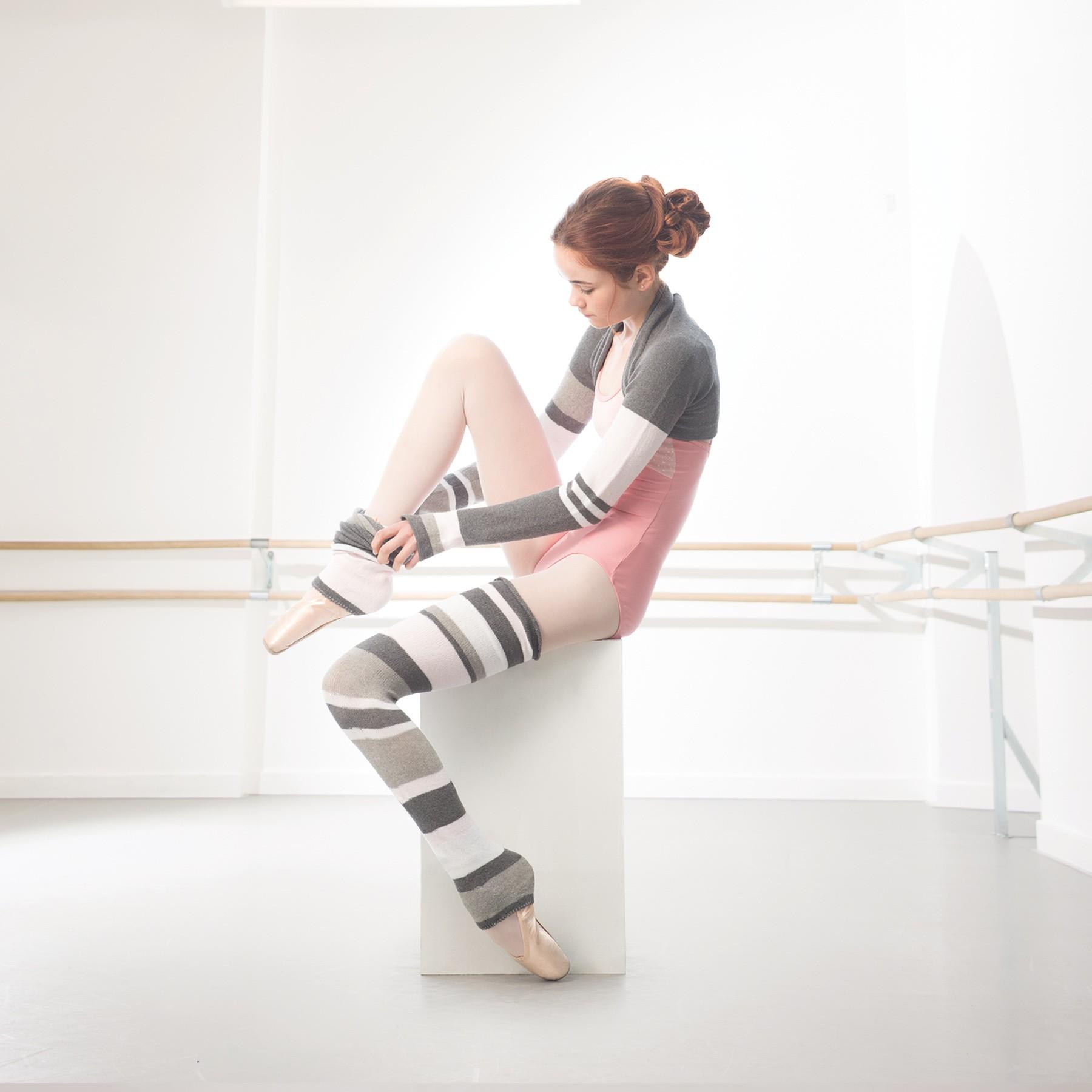 Intermezzo Stripe Legwarmers Pink/Grey Adult One Size