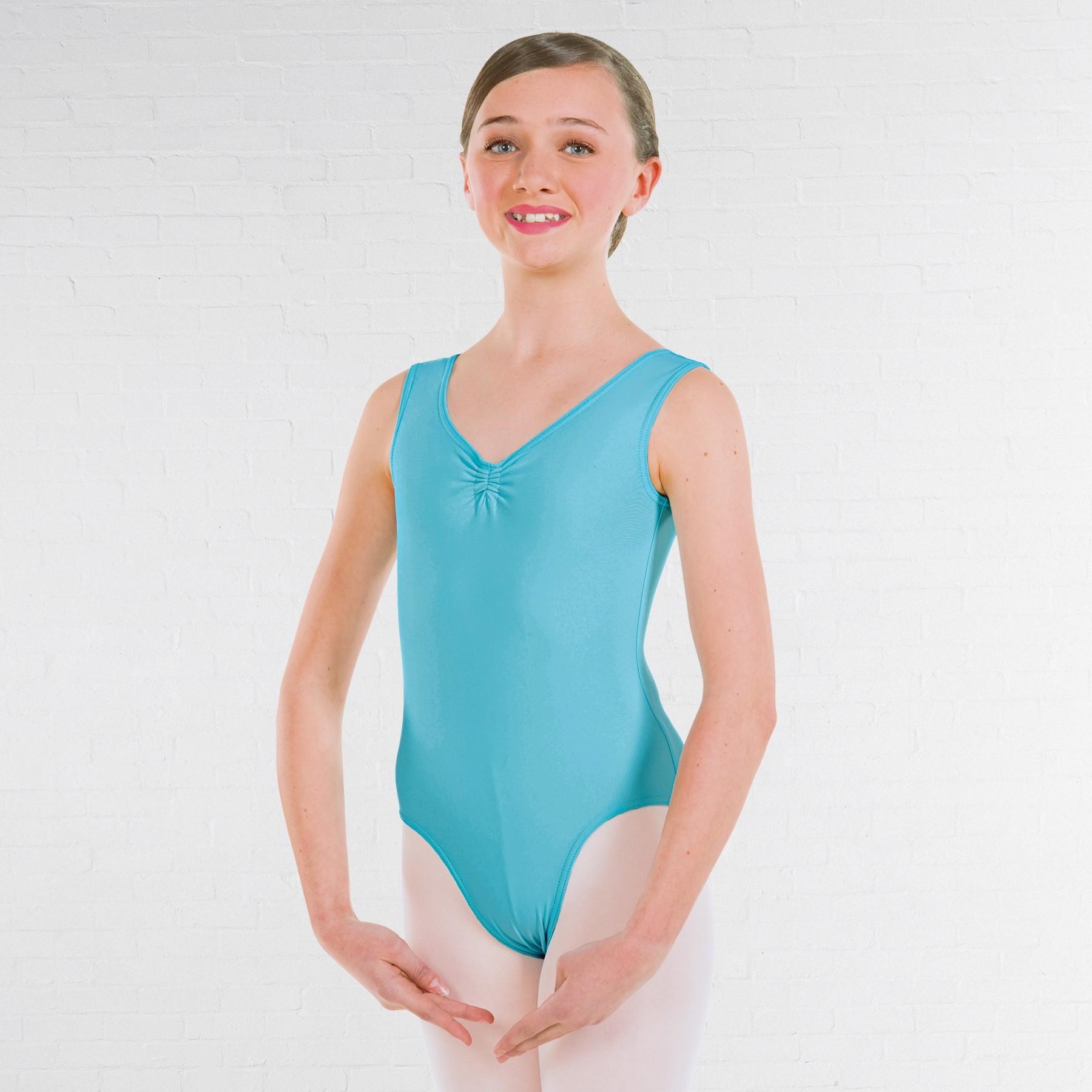 ISTD Ballett-Trikot mit Raffung an der Vorderseite (Klasse 1-4) (Aqua)