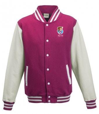 Unisex Varsity Jacket (Bright Pink/White) with Alegria Club Logo
