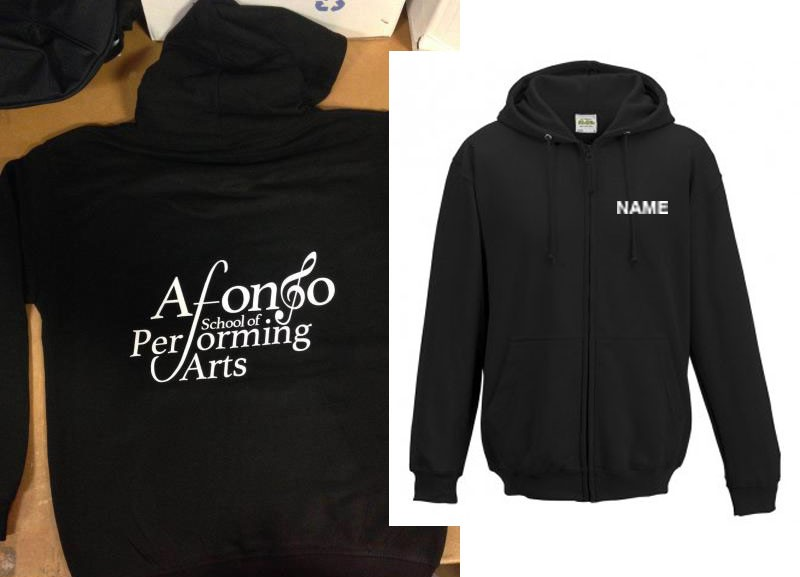 Child Hoodie (Black) Personalised with Individual Names and Afonso School of Performing arts Logo