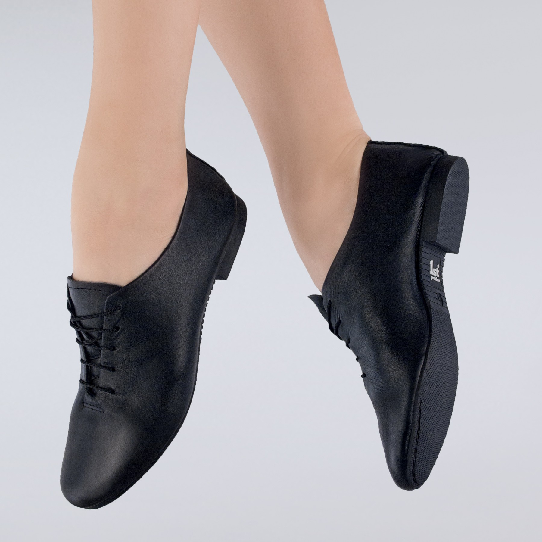 1st Position Leather Jazz Shoes (Black)