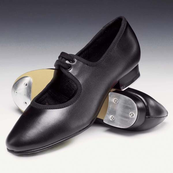 1st Position Low Heel Shoe with Toe & Heel Taps (Black)