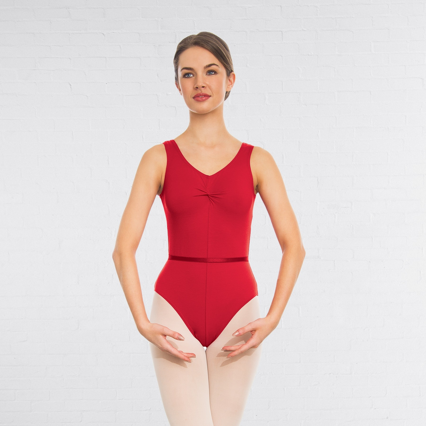 1st Position Anne Grades III/V Leotard (Ruby Red)