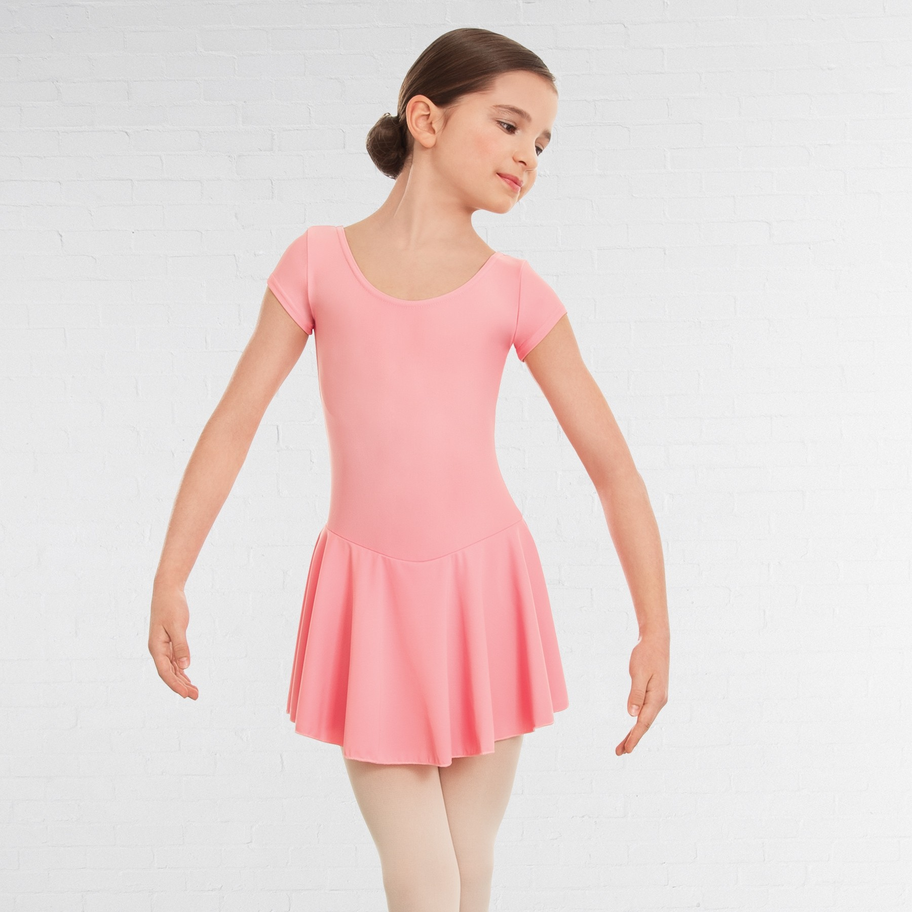 1st Position Maddy Skirted Cap Sleeve Leotard (Matt Nylon) (Candy Pink)