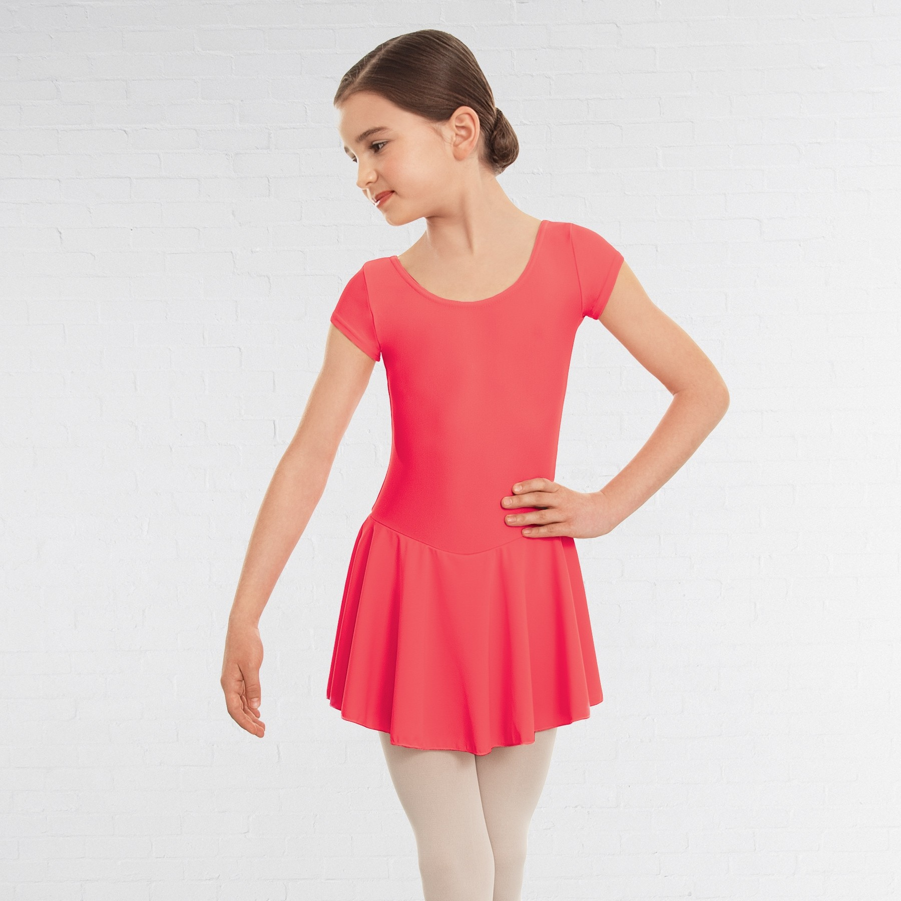 1st Position Maddy Skirted Cap Sleeve Leotard (Matt Nylon) (Coral)