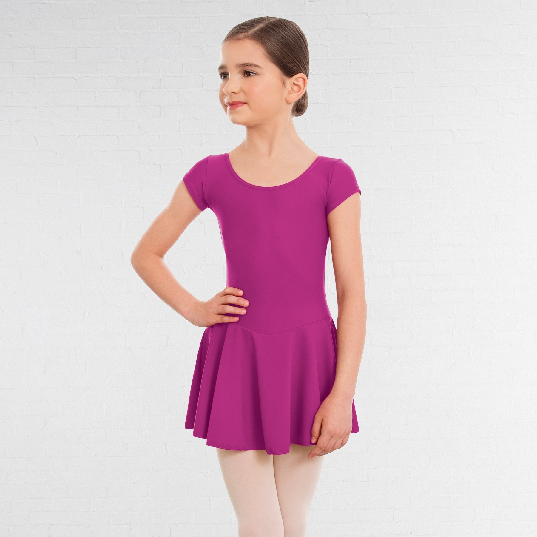 1st Position Maddy Skirted Cap Sleeve Leotard (Matt Nylon) (Magenta)