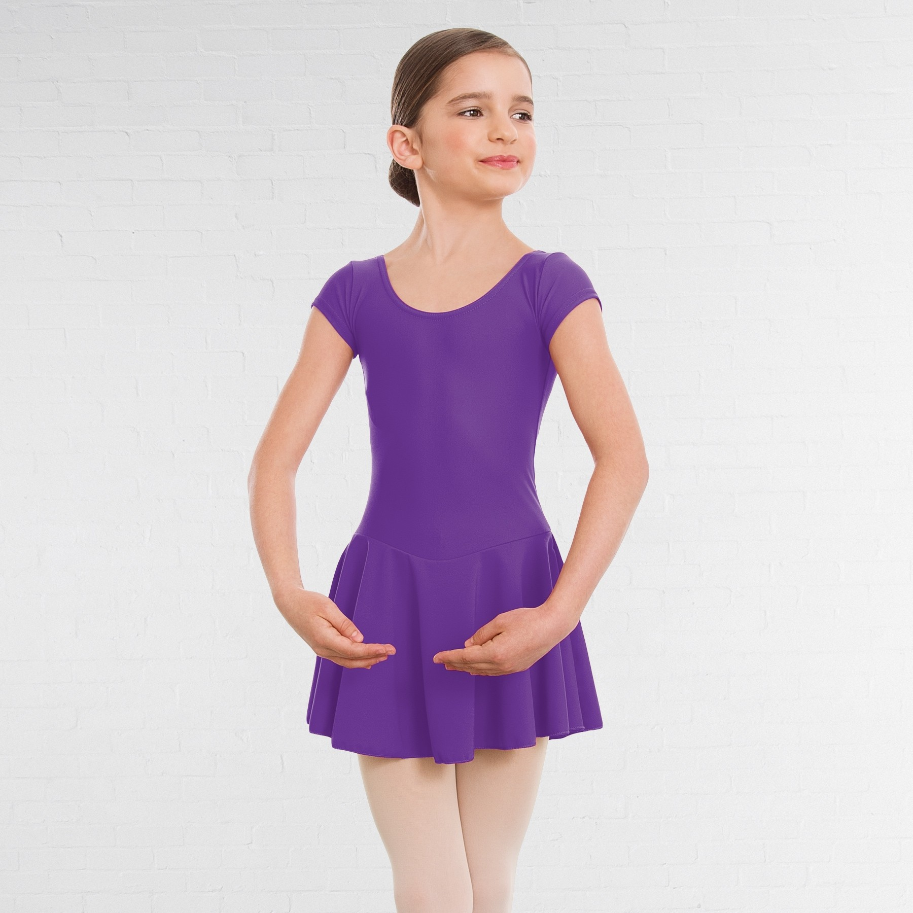 1st Position Maddy Skirted Cap Sleeve Leotard (Matt Nylon) (Violet)