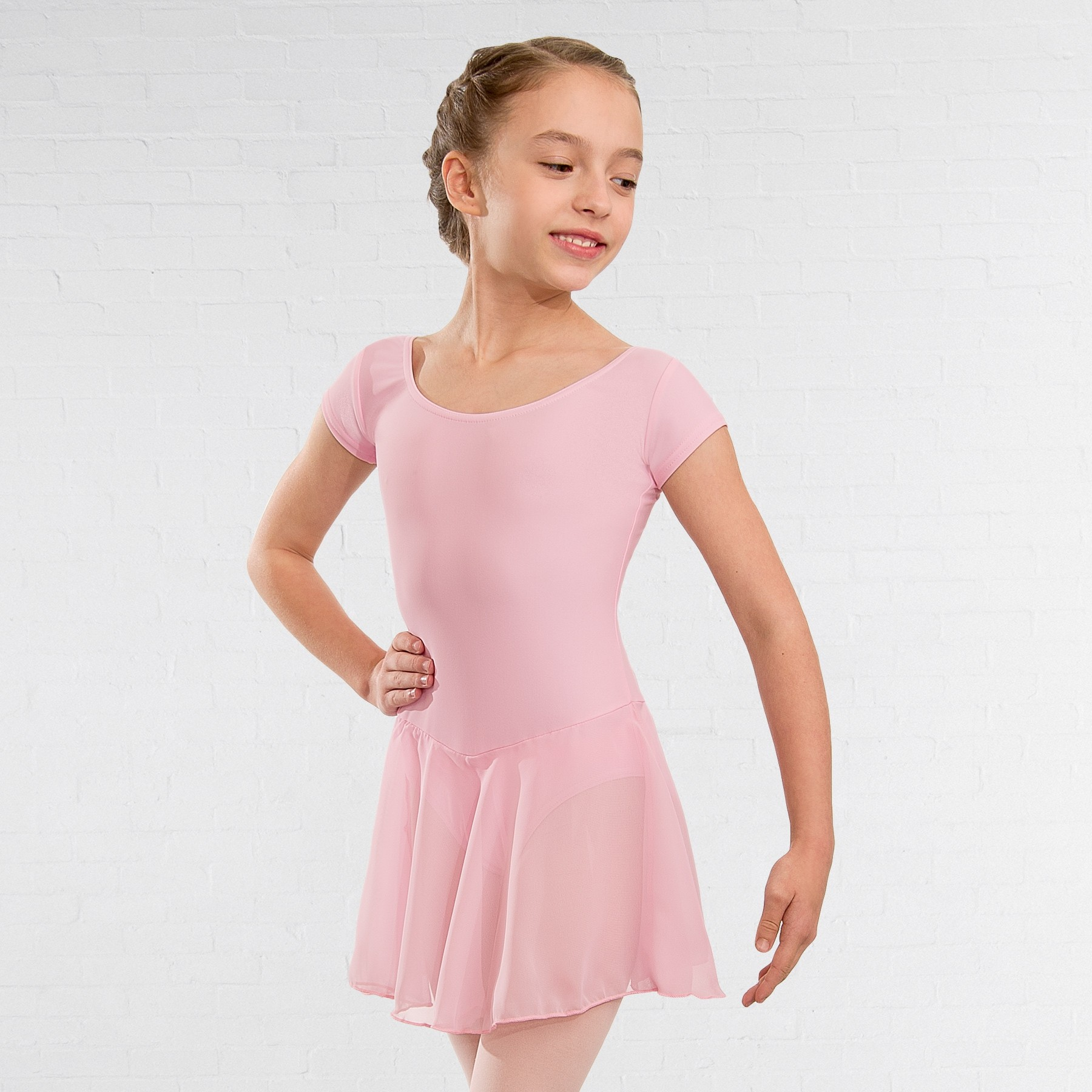 1st Position Milly Voile Skirted Cap Sleeve Leotard (Light Pink)