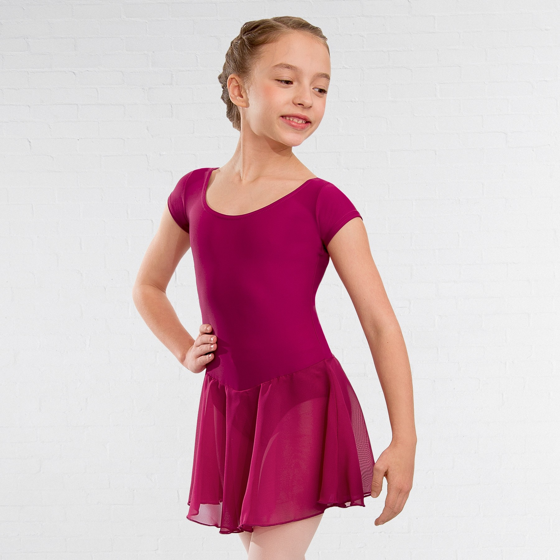 1st Position Milly Voile Skirted Cap Sleeve Leotard (Rose)