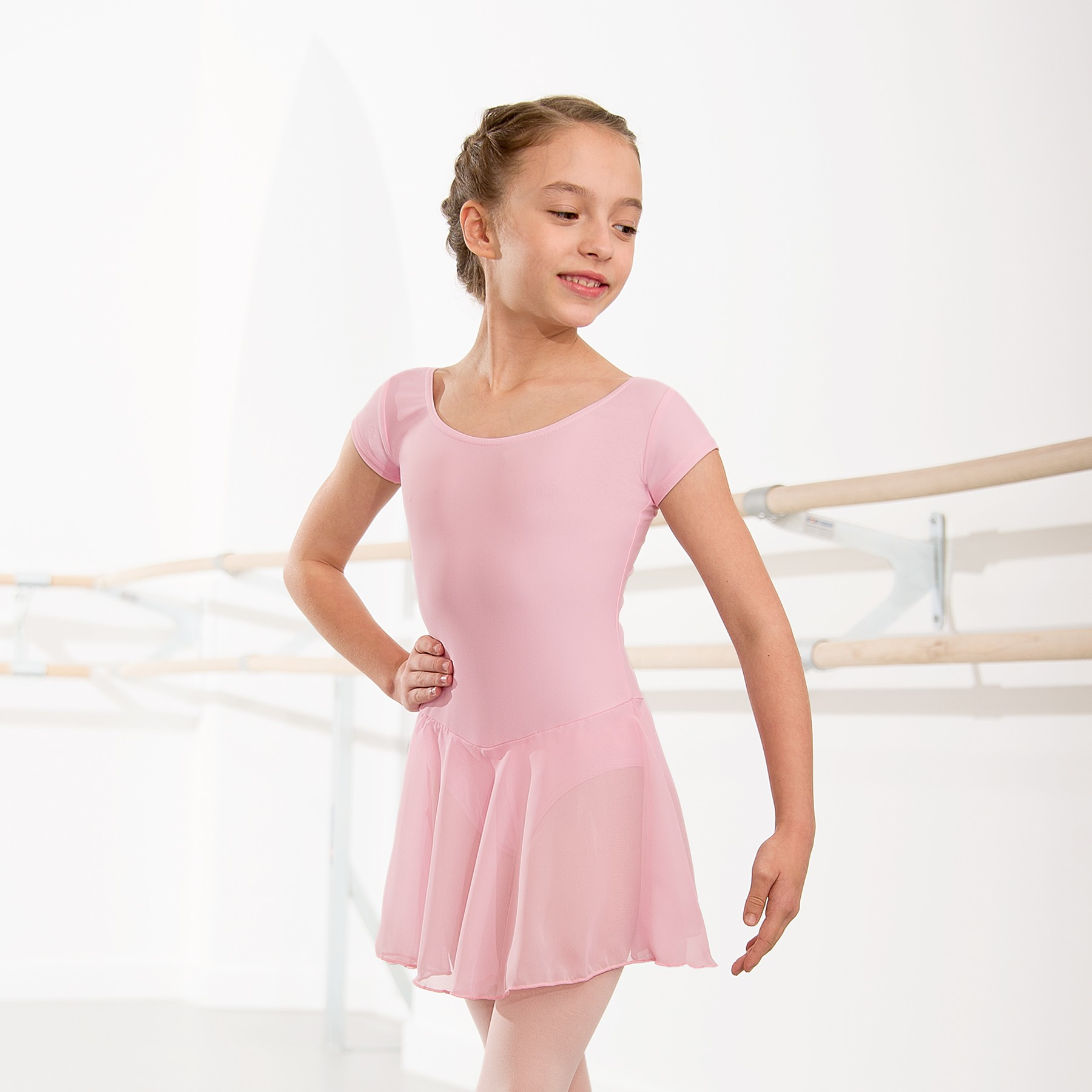Milly Voile Skirted Cap Sleeve Leotard (Light Pink)
