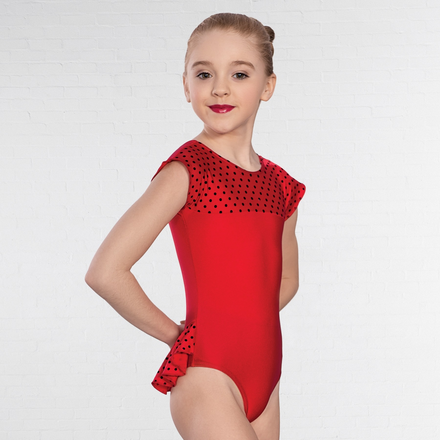 1st Position Natasha Dotty Bum Frill Leotard (Red)