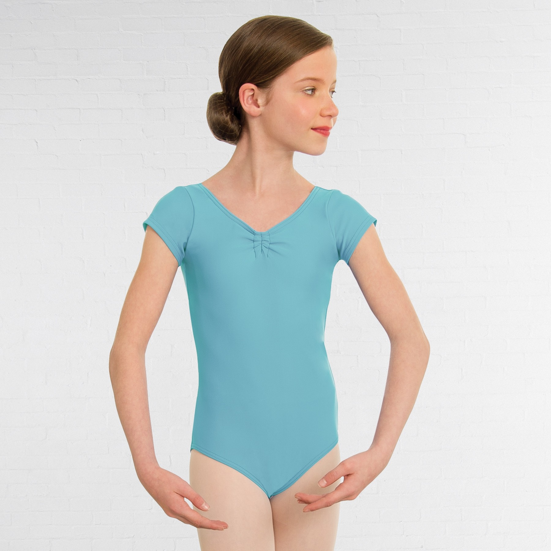 1st Position Alice Cap Sleeved Ruched Leotard (Matt Nylon) (Aqua)
