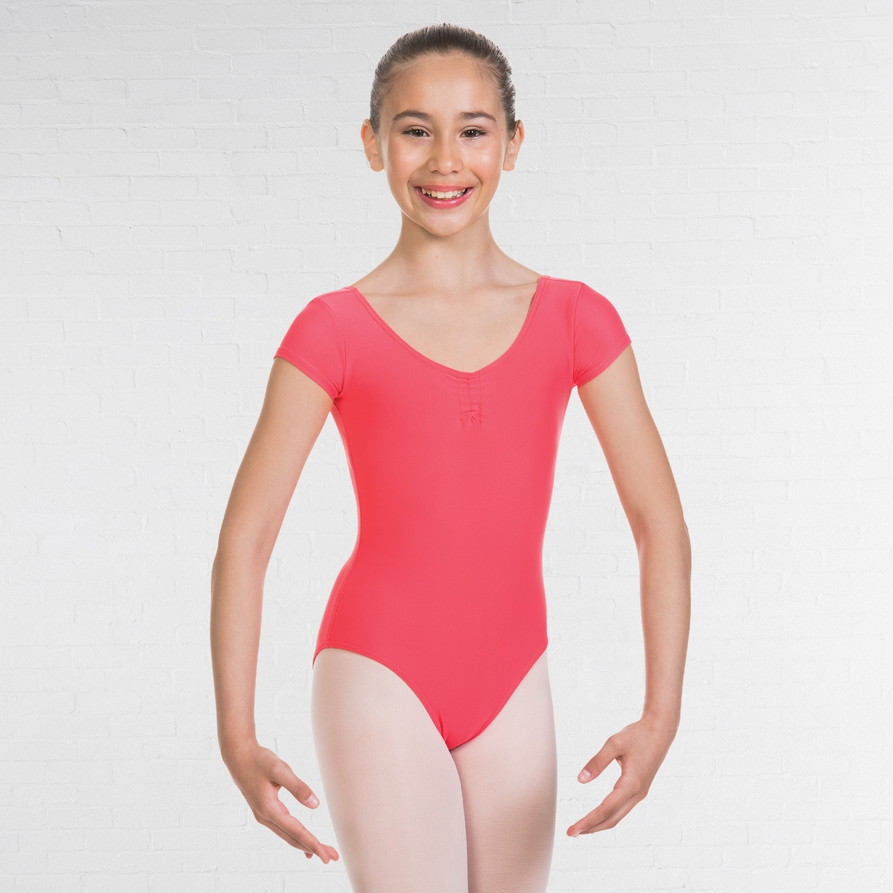 1st Position Alice Cap Sleeved Ruched Leotard (Matt Nylon) (Coral)