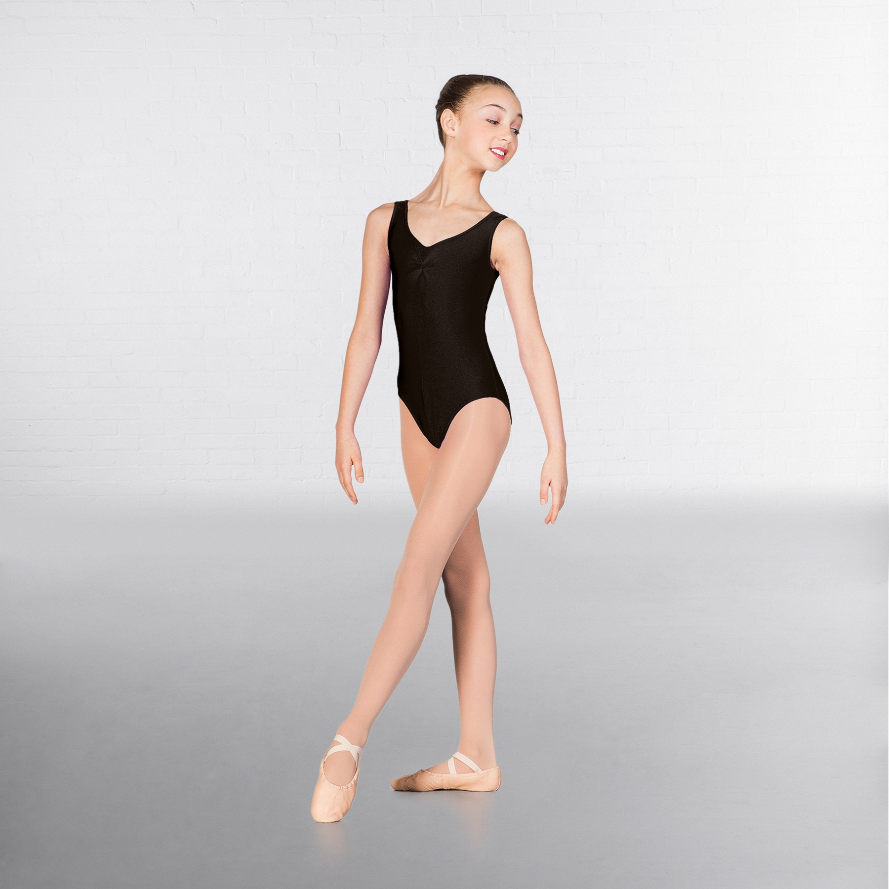 1st Position Angela Ruched Front Leotard (Black)